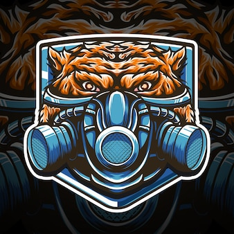 Tiger gasmaske esport logo und t-shirt design charakter symbol