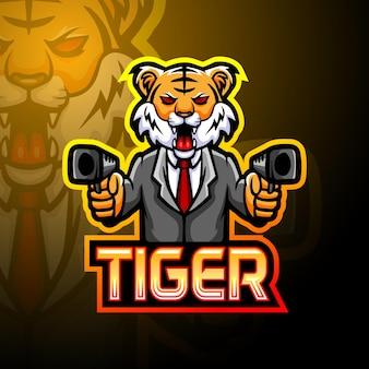 Tiger gun esport logo maskottchen