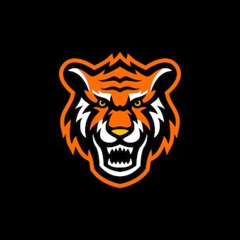 Tiger head maskottchen logo esport gaming
