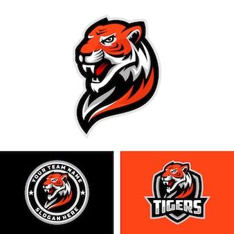 Tiger head maskottchen logo für das sport team logo. illustration. kann für ihr teamlogo verwendet werden.