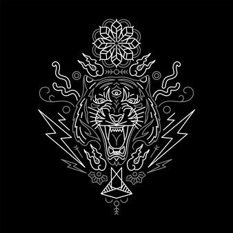 Tiger im minimalistischen stil. inspiriert von dem tattoo.
