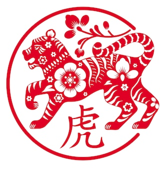 Tiger ist ein symbol für die vektorgrafik des chinesischen neujahrsfeiertags 2022 des dekorativen roten tierkreises