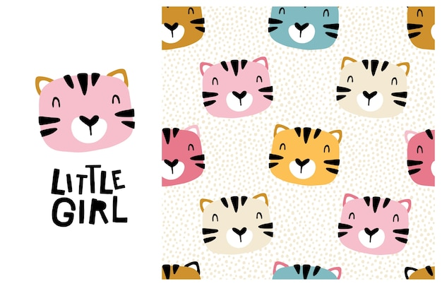 Tiger katze. kleines mädchen. nettes gesicht eines tieres mit beschriftung und nahtlosem muster. kindlicher druck für kinderzimmer, karikaturillustration in den pastellfarben.