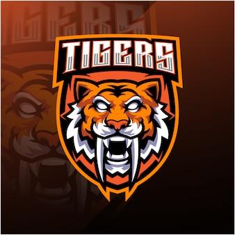 Tiger kopf esport maskottchen logo