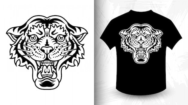 Tiger kopf. t-shirt-druck im vintage-monochrom-stil.