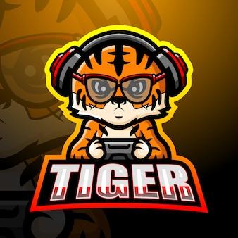 Tiger maskottchen esport illustration