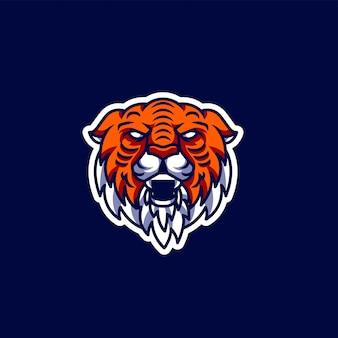 Tiger maskottchen und esport gaming-logo