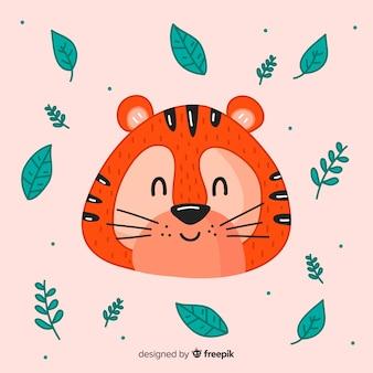 Tiger mit blatthintergrund