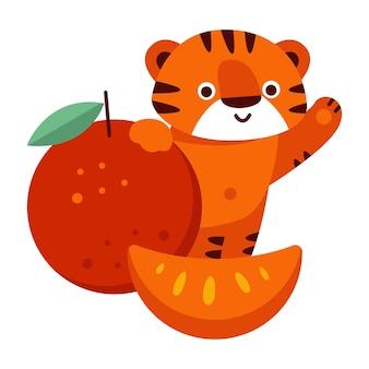 Tiger mit mandarine. vektorillustration im cartoon-stil. isoliert auf weißem hintergrund.