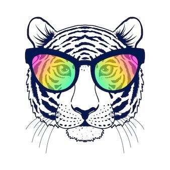 Tiger mit sonnenbrille auf weißem hintergrund. idee für t-shirt design