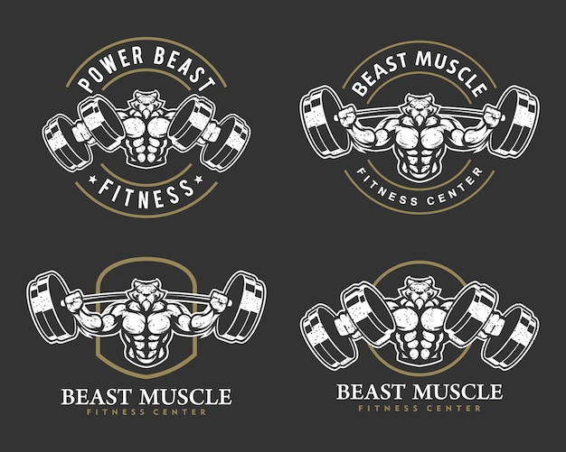 Tiger mit starkem körper, fitnessclub oder fitnessraum-logo-set.