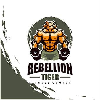 Tiger mit starkem körper, fitnessclub oder fitnessraumlogo. gestaltungselement für firmenlogo, etikett, emblem, bekleidung oder andere waren. skalierbare und bearbeitbare illustration