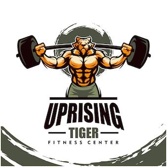 Tiger mit starkem körper, fitnessclub oder fitnessraumlogo.