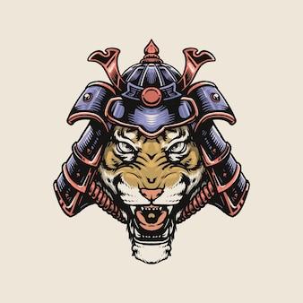 Tiger samurai isoliert auf weiß