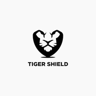 Tiger schild logo design-vorlage. tiger negatives raumlogo.