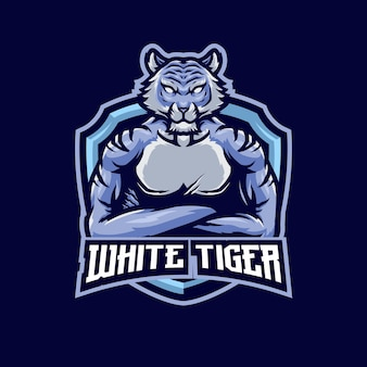 Tiger silber maskottchen logo vorlage