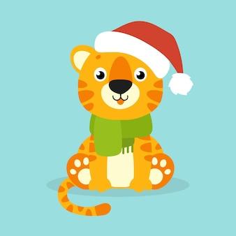 Tiger-simbol in einer weihnachtsmütze cartoon-figur