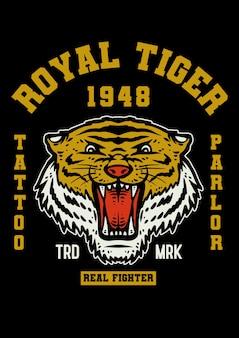 Tiger tattoo maskottchen im vintage-stil
