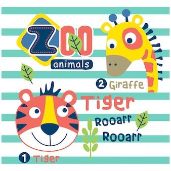 Tiger und giraffe im lustigen tierkarikatur des zoos, vektorillustration