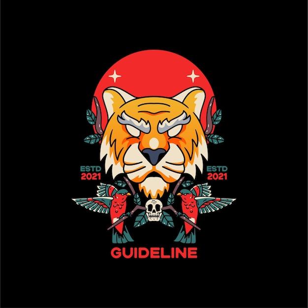 Tiger- und vogelillustrationsdesign für t-shirts