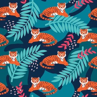 Tiger unter tropischen pflanzen ein nahtloses muster des hellen vektors in einem flachen stil der karikatur