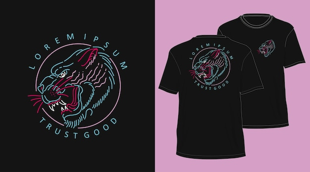 Tiger vintage monoline handgezeichnete t-shirt design