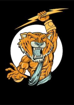 Tiger zeus illustration in der hand gezeichnet