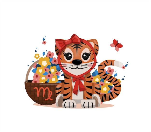 Tigerjunges mit jungfrau sternzeichen sternzeichen symbol vektor cartoon illustration horoskop und ea...