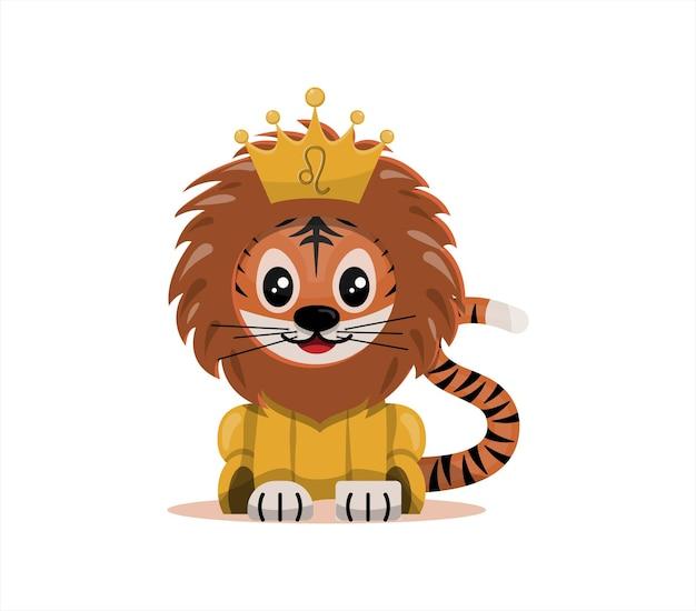 Tigerjunges mit löwe sternzeichen sternzeichen symbol vektor cartoon illustration horoskop und ost...