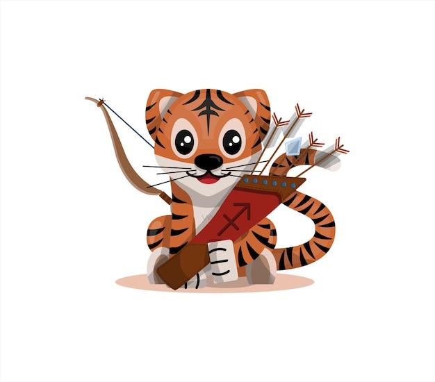 Tigerjunges mit schütze sternzeichen sternzeichen symbol vektor cartoon illustration horoskop ...