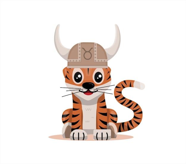 Tigerjunges mit stier sternzeichen sternzeichen symbol vektor cartoon illustration horoskop und e...