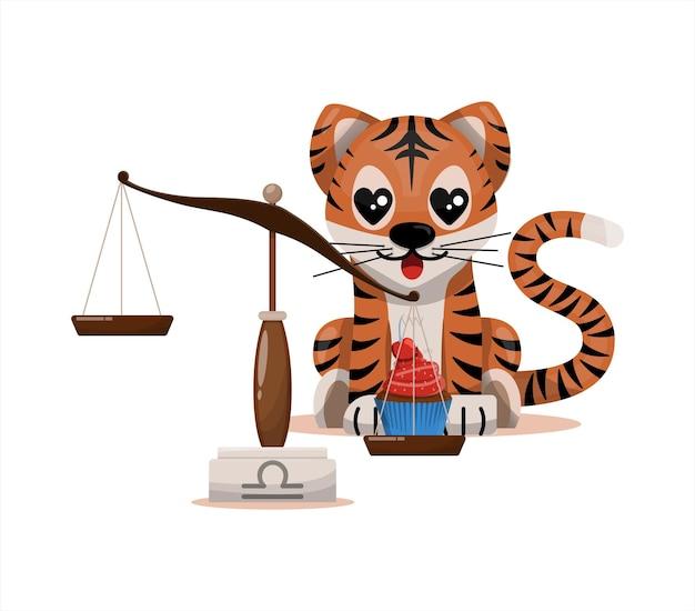 Tigerjunges mit waage sternzeichen sternzeichen symbol vektor cartoon illustration horoskop und ea...