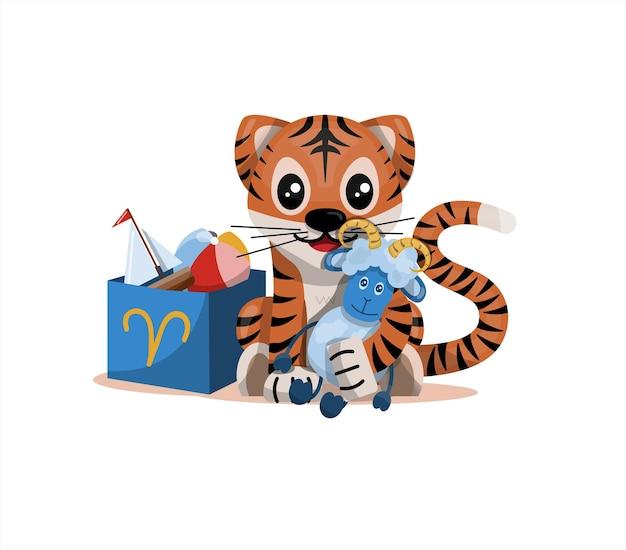Tigerjunges mit widder sternzeichen sternzeichen symbol vektor cartoon illustration horoskop und ea...