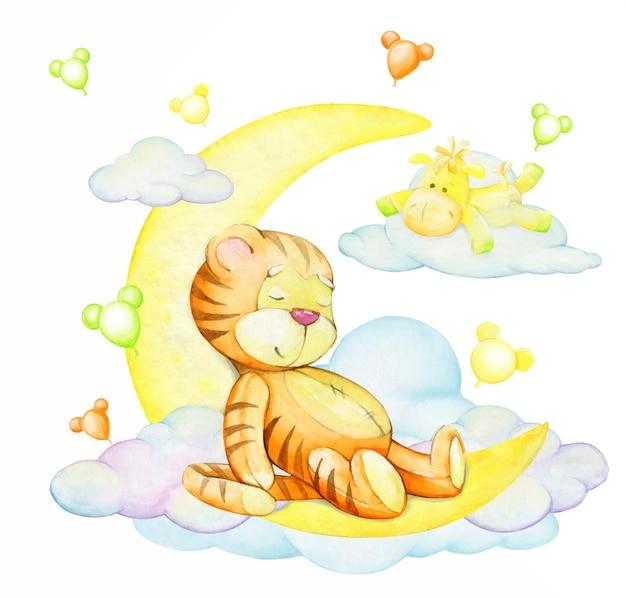 Tigerjunges, schlafend, auf dem mond, ein pferd, das auf einer wolke liegt. ein aquarellkonzept, cartoon-stil.