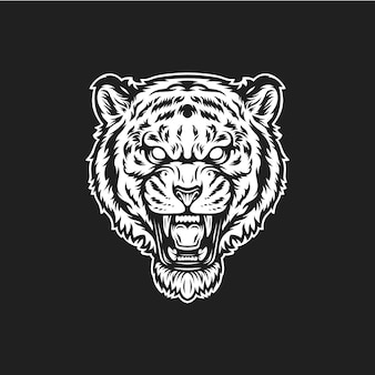 Tigerkopf brüllen Premium Vektoren