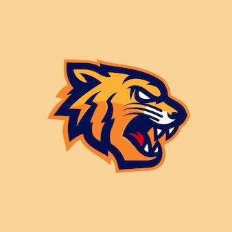 Tigerkopf esports logomaskottchen-vektorillustration
