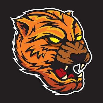Tigerkopf-ikonenkonzept farbenreich