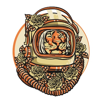 Tigerkopf mit astronautenhelm