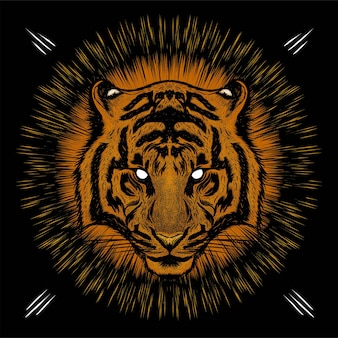 Tigerkopf mit augenlichthintergrund