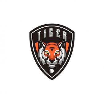 Tigerlogoentwurf mit shild