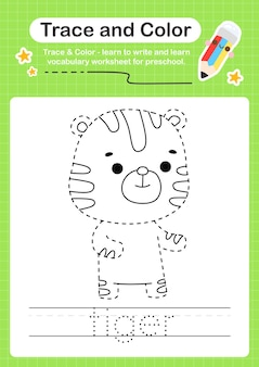 Tigerspur und farbvorschularbeitsblattspur