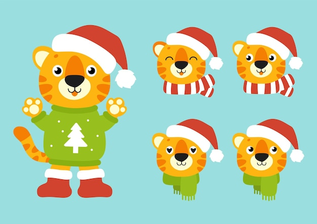 Tigersymbol in einer wintermütze frohes neues jahr und frohe weihnachten
