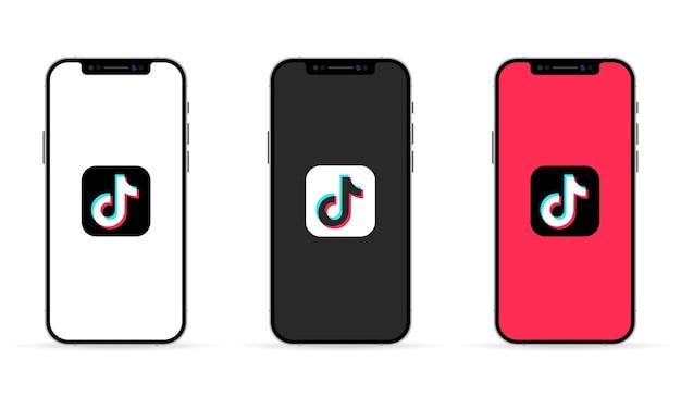 Tik tok-app auf dem smartphone-bildschirm