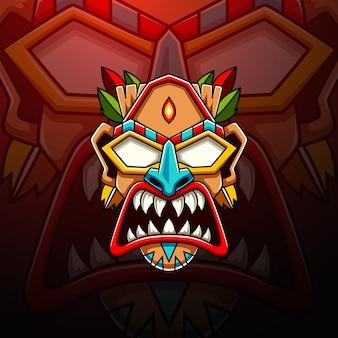 Tiki esport maskottchen logo design