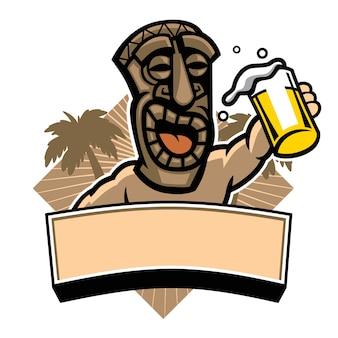Tiki halten ein glas bier
