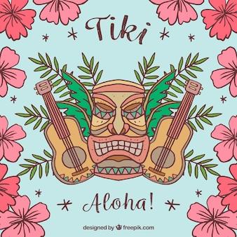 Tiki hintergrund mit gitarren und hand gezeichneten blumen