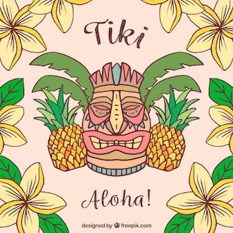 Tiki hintergrund mit hand gezeichneten blumen und tannenzapfen