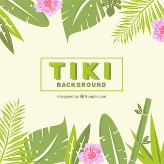 Tiki hintergrund mit palmblättern