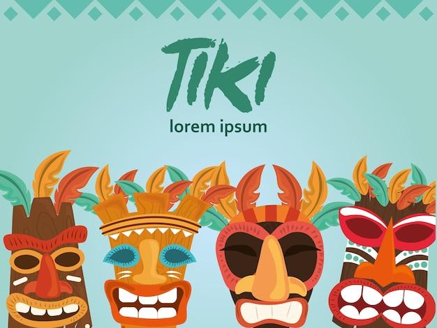 Tiki holz totem symbol, gott aus der alten kultur der hawaii illustration