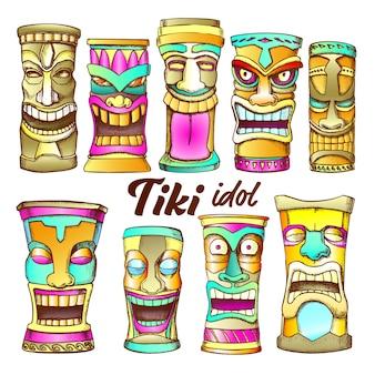Tiki idol sammlung totem vintage set